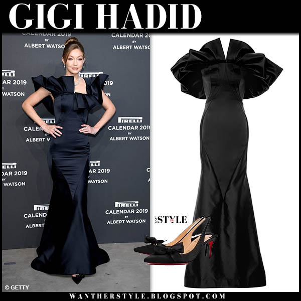 Gigi Hadid in dark blue satin gown zac posen red carpet look december 5