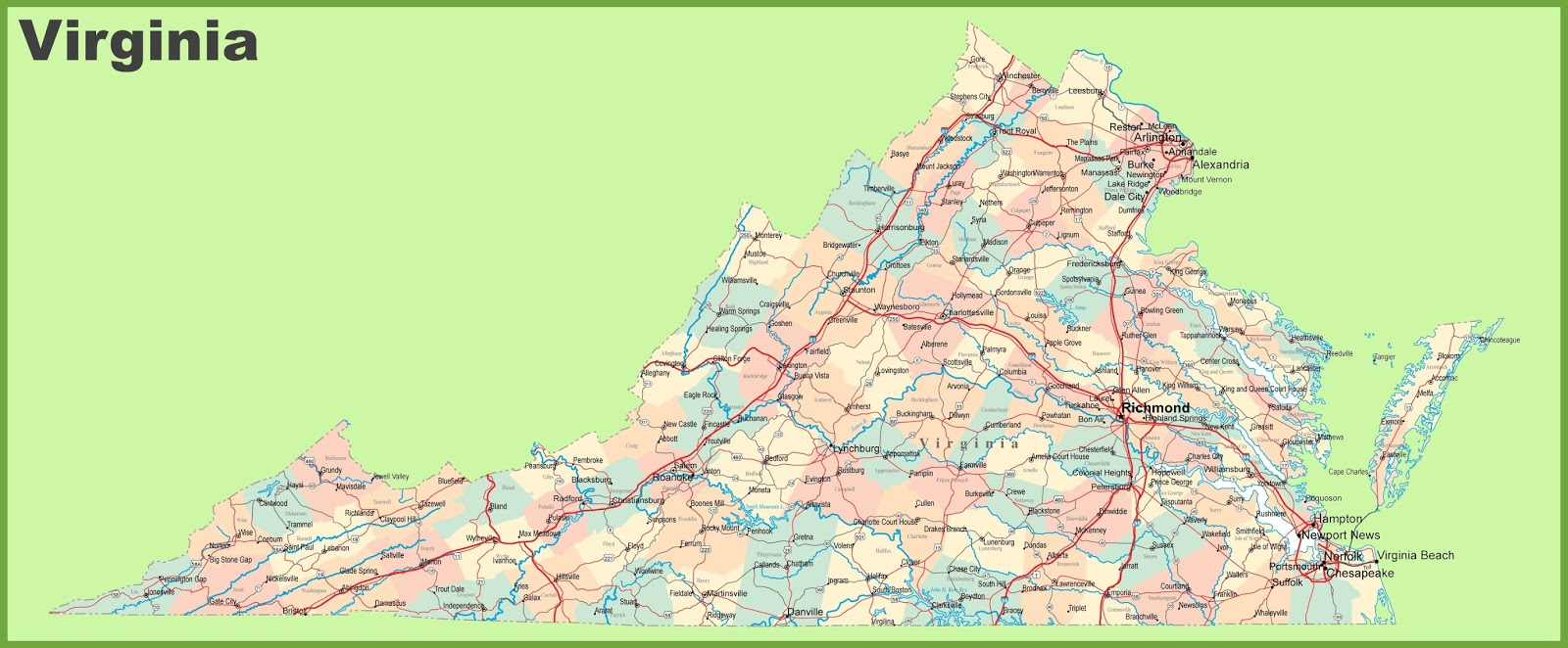 Map Of Virginia State Map Of USA - Virginia on map