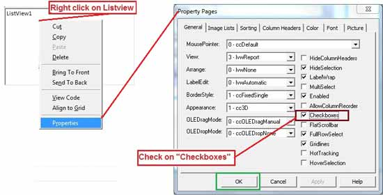 Listview Checkbox Property for checked item