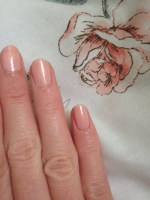 Nails painted in a nude chanel nail polish
