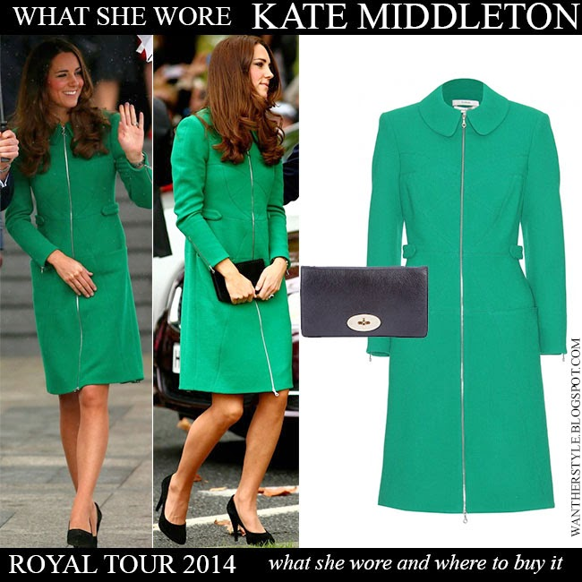 4de3dab29c0f Kate Middleton Duchess of Cambridge in green zip Erdem Allie coat with  black pumps and black