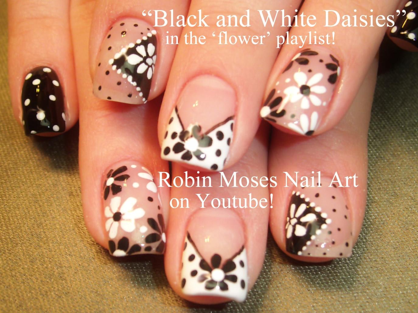 Nail Art by Robin Moses: Black and White Daisies on a Diagonal ...