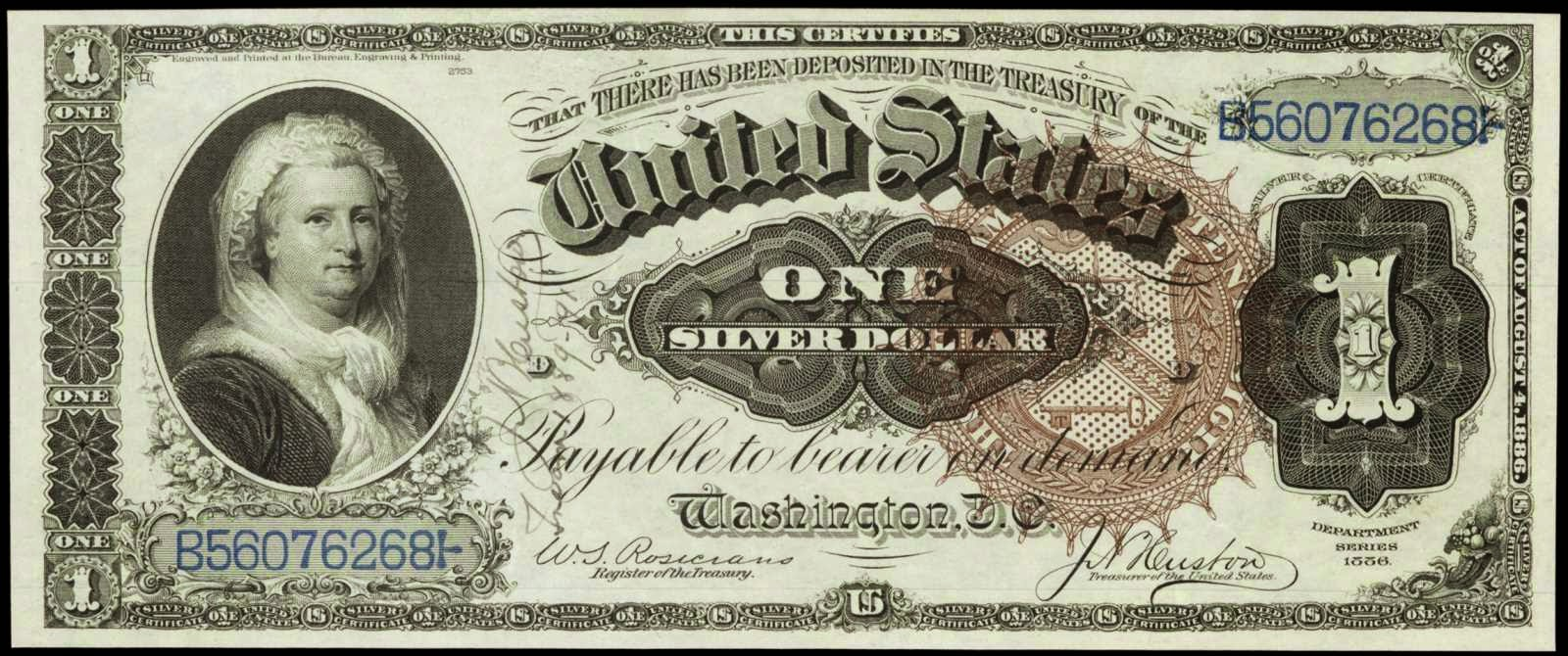 Paper Money of the United States: 1886 One Dollar Silver Certificate Martha Washington Note Autograph
