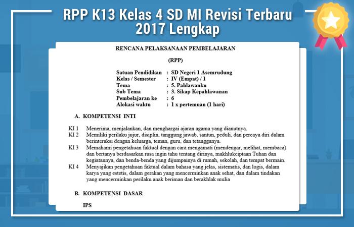 Rpp K13 Kelas 4 Sd Mi Revisi Terbaru 2017 Lengkap Rpp K13