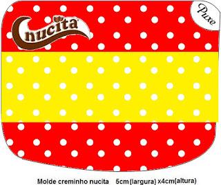 Etiqueta Nucita de Rojo, Amarillo y Lunares Blancos para imprimir gratis.