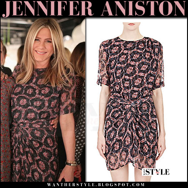 Jennifer Aniston in red Ikat print mini dress isabel marant tehora what she wore style inspiration