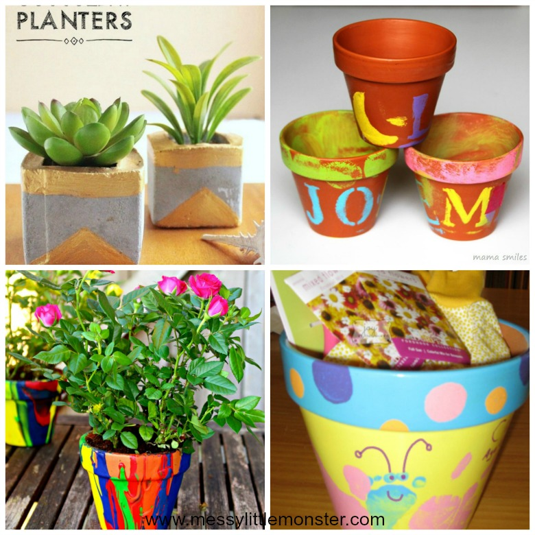 Homemade gifts for mom from kids - easy diy flower pot crafts that kids can make.
