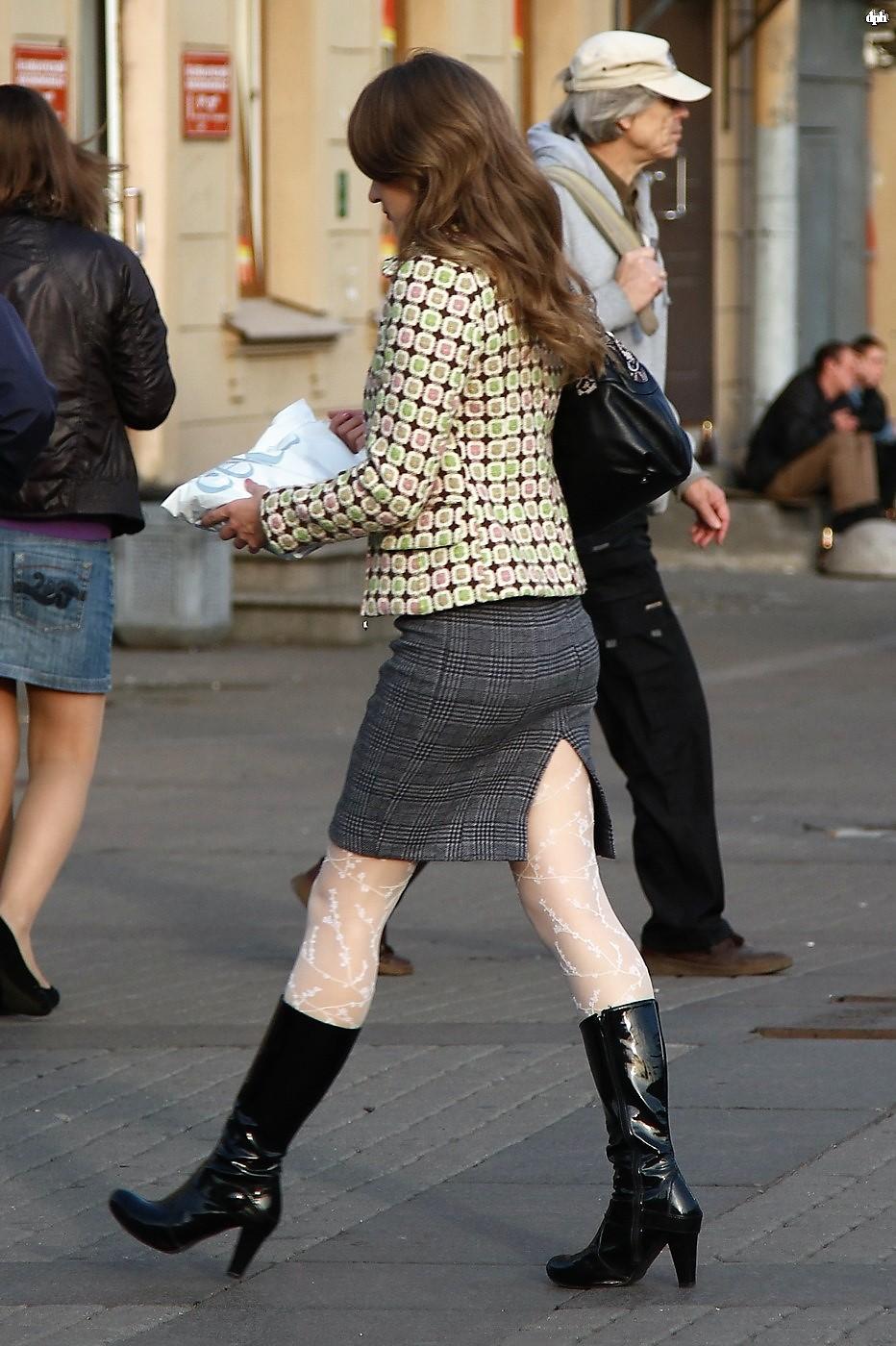 Fashion Tights Skirt Dress Heels-9662