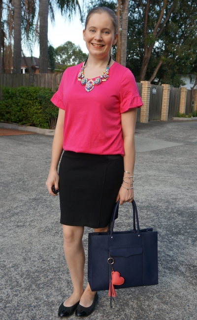 hot pink frill sleeve tee jeanswest black pencil skirt statement crystal necklace business casual office style | away from blue