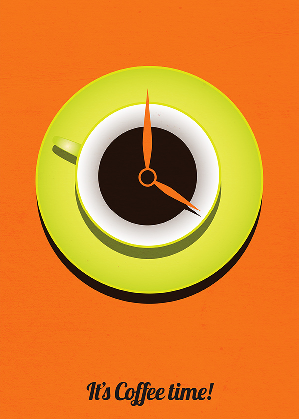 Orange poster with coffee cup resembling a clock and the text it's coffee time