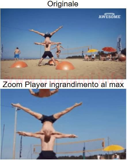Android video zoomato con app Zoom Player
