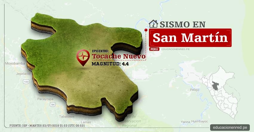 Temblor en San Martín de Magnitud 4.4 (Hoy Martes 23 Julio 2019) Sismo Epicentro Tocache Nuevo - Uchiza - Tarapoto - IGP - www.igp.gob.pe