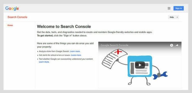 konsol pencarian google