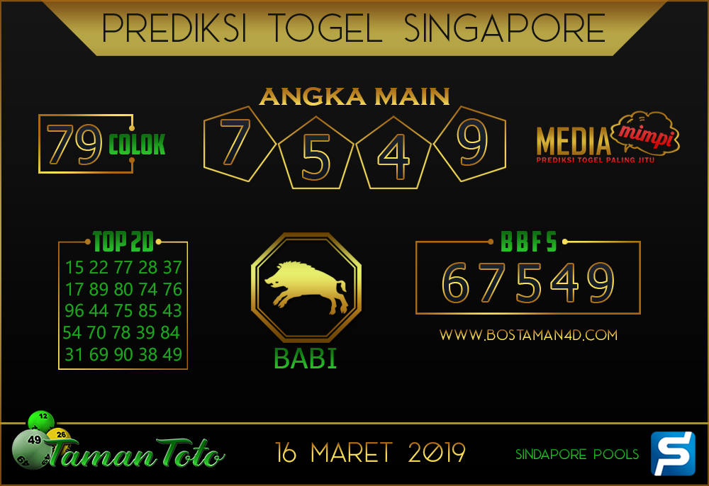 Prediksi Togel SINGAPORE TAMAN TOTO 16 MARET 2019