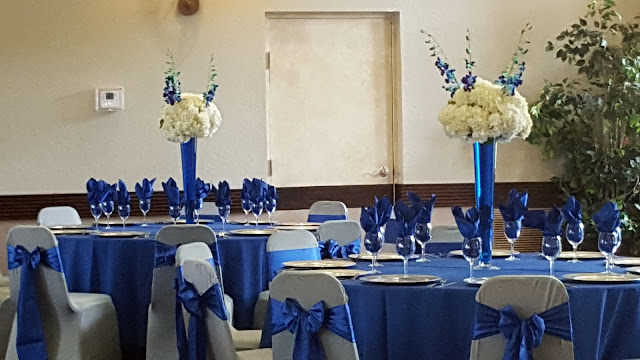 royal blue and silver wedding by eventsojudith, tall centerpieces