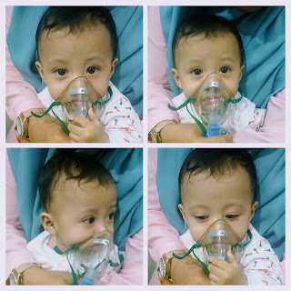 Collage photo of Aina while receiving the 4th nebulizer treatment