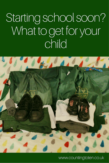 """A image of school uniform for a boy and girl ready to wear on a bed with the caption """"starting school soon? What to get for your child"""""""