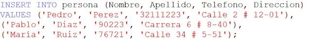 como insertar registros en una base de datos MySQL