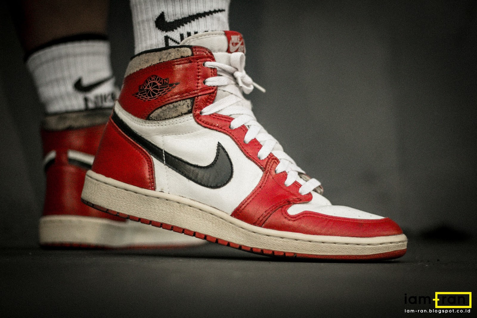 ... Nike Air Jordan 1 (1984 ). Ferry on feet. Sneakers ... f735bbbce