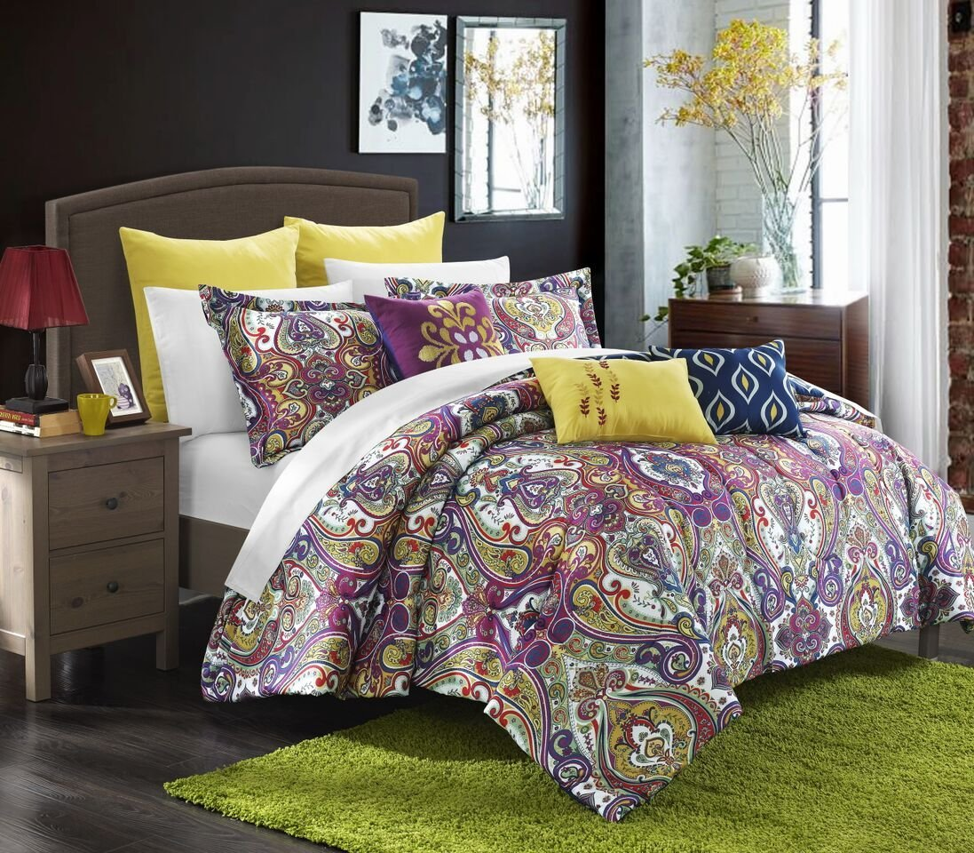 Plum and green bedding - Purple And Sage Green Paisley Bedding 8 Pce Paisley Comforter Pillow Set