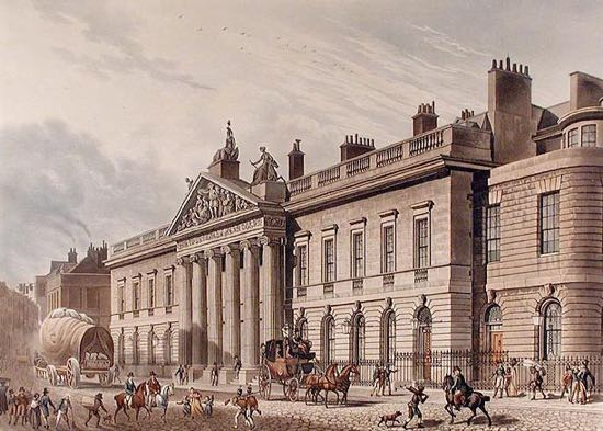 Photograph of drawing of East India House in Leadenhall Street, London as drawn by Thomas Hosmer Shepherd, c.1817 [Public domain], via Wikimedia Commons