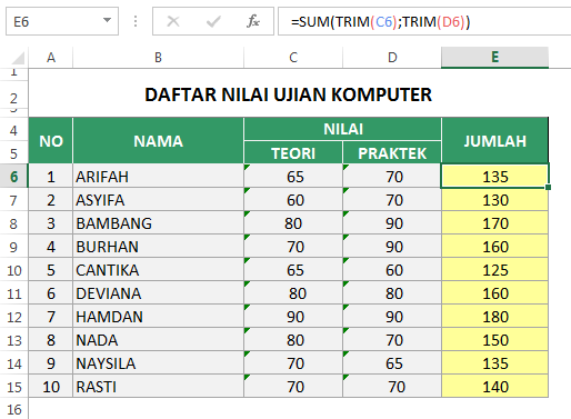 Fungsi TRIM Number Stored as text di Excel