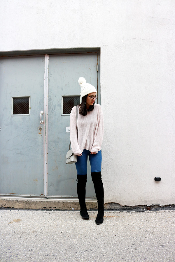 Light Pink Sweater Over the Knee Boots Jeans