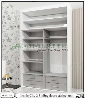 Dalam lemari baju minimalis cabinet unit sliding City