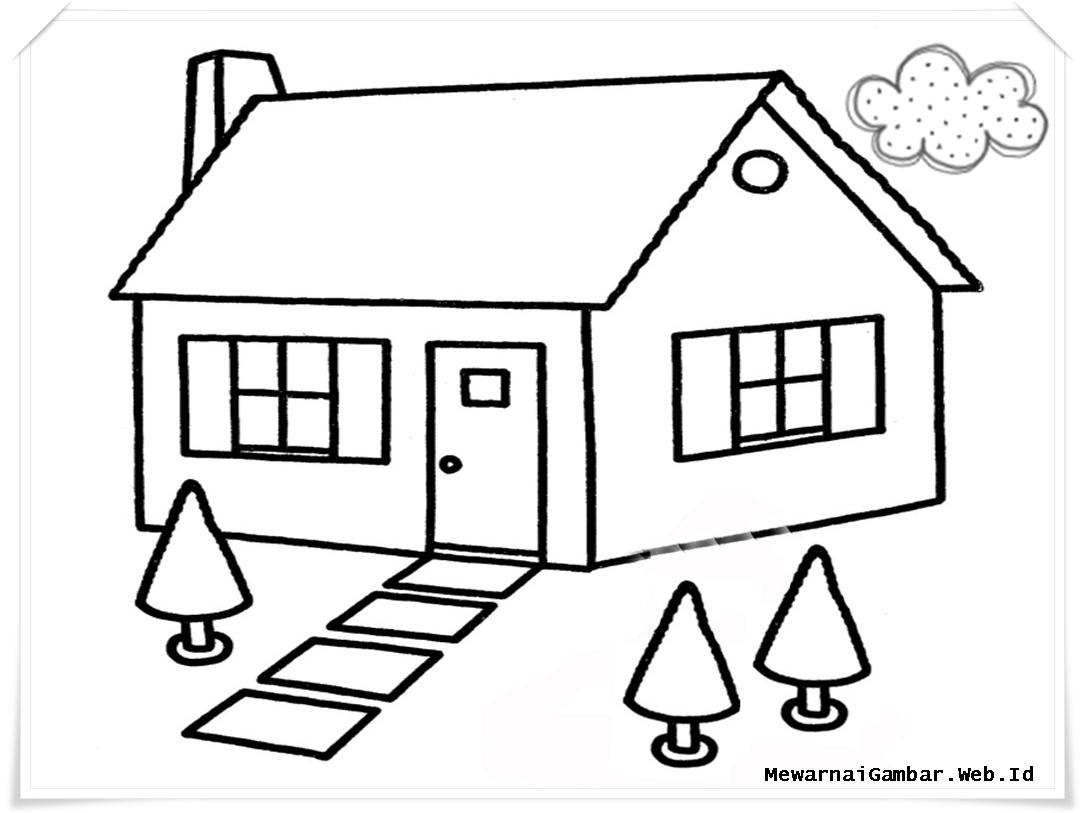 Photokabalfalah Mewarnai Gambar Rumah Dengan Crayon