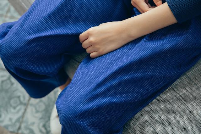 長腿先生口袋造型長褲-青丹藍