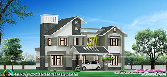 2300 sq-ft modern sloping roof home