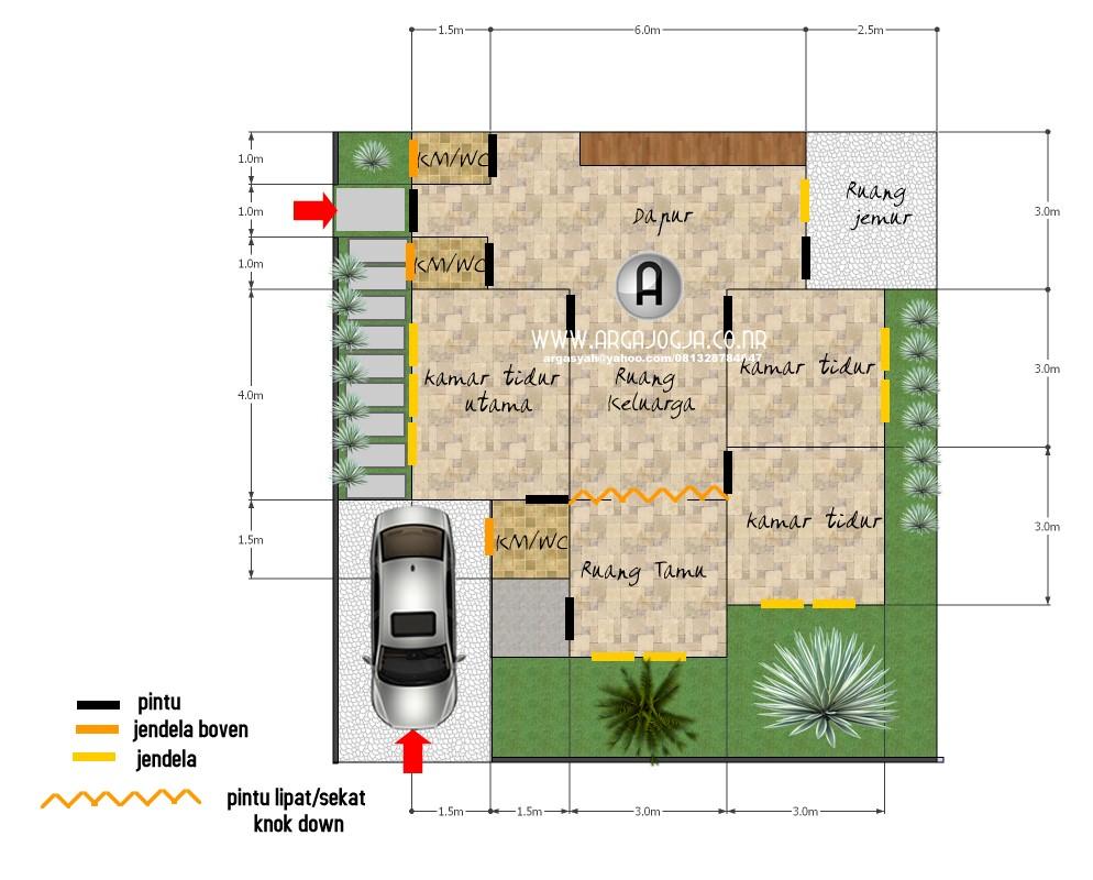gambar denah rumah pojok 1
