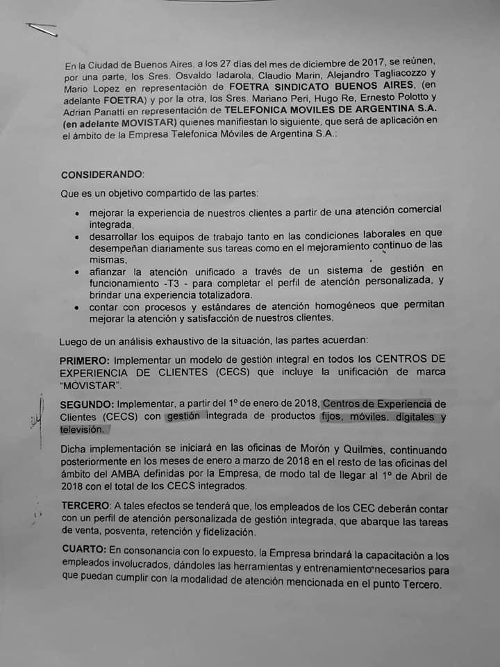 Telefónicos: Acta Acuerdo : Foetra - Movistar (27.12.2017)