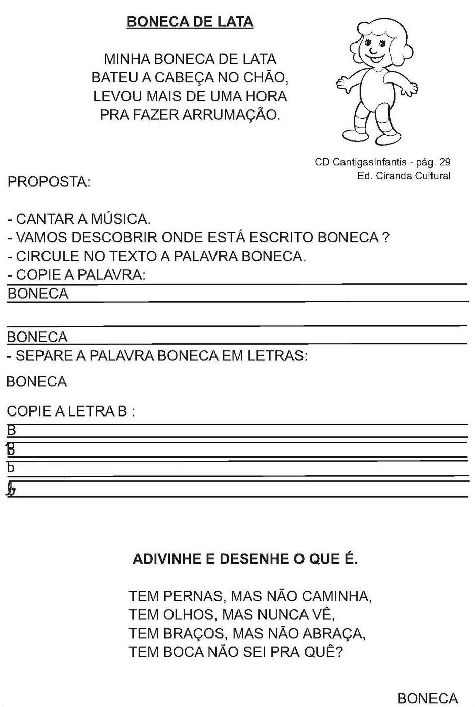 Atividades Com A Musica Boneca De Lata Sugestoes Construcao Da
