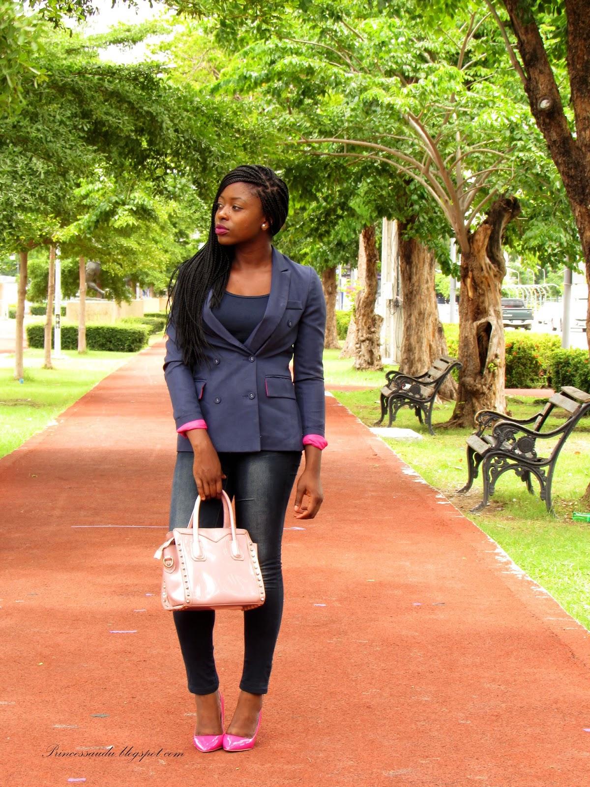 blue denim jeans, pink court shoes
