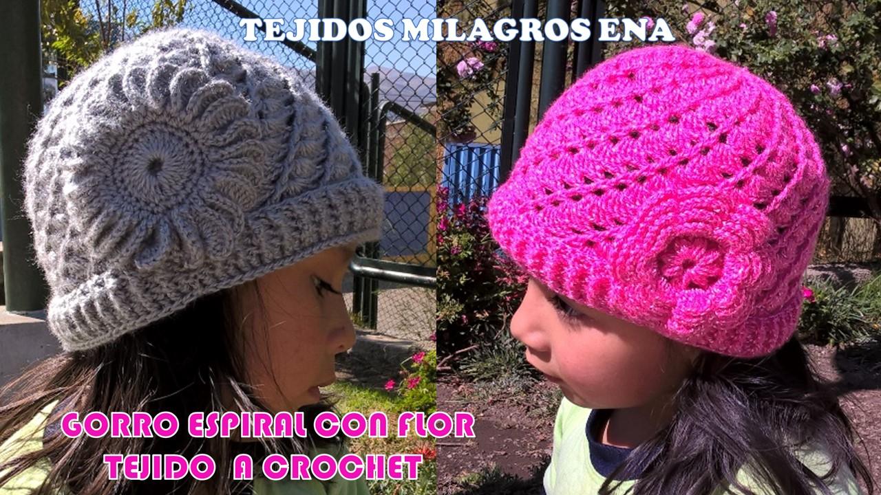 MILAGROS ENA  Gorro Espiral con Flor tejido a crochet con ... 3dc0c04a5fb