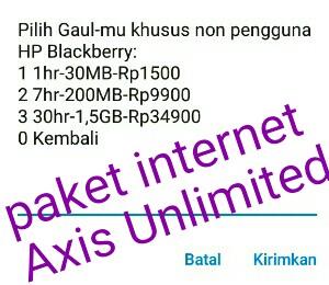 Cara daftar paket internet Axis Unlimited