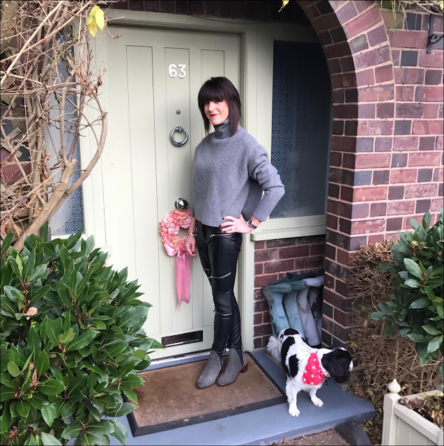 My Midlife Fashion, Zara chunky cropped polo neck, zara faux leather biker trousers, Hudson compound suede boots