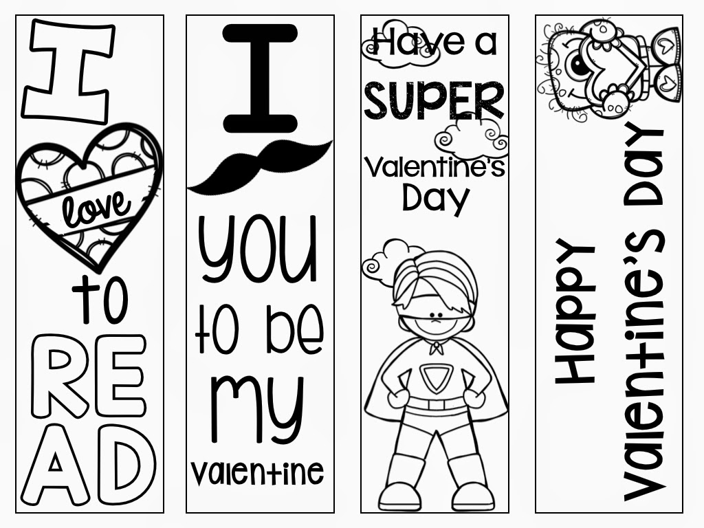 Free Printable Coloring Valentine Bookmarks