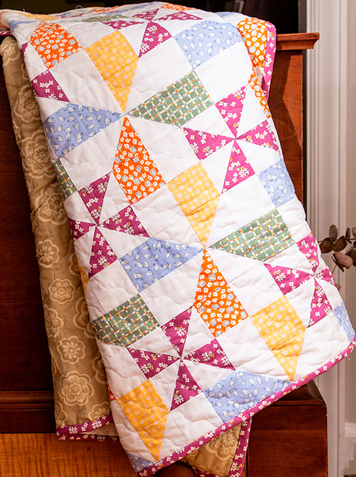 This quick and easy pattern comes straight from the 1930s. Bright colors and interesting blocks make it perfect for a baby quilt or a cheerful throw.