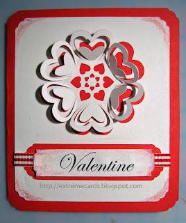flower heart 3d valentine card front