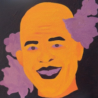 Portrait of Haitian president Michel Martelly with flowers