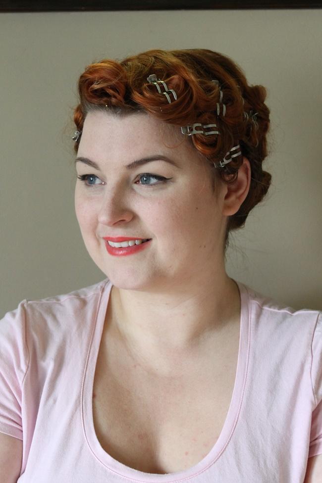 pin curl set for dita von teese pageboy hairstyle