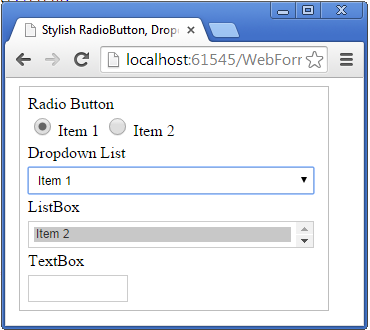 Stylish RadioButton, DropdownList, ListBox and TextBox Control In