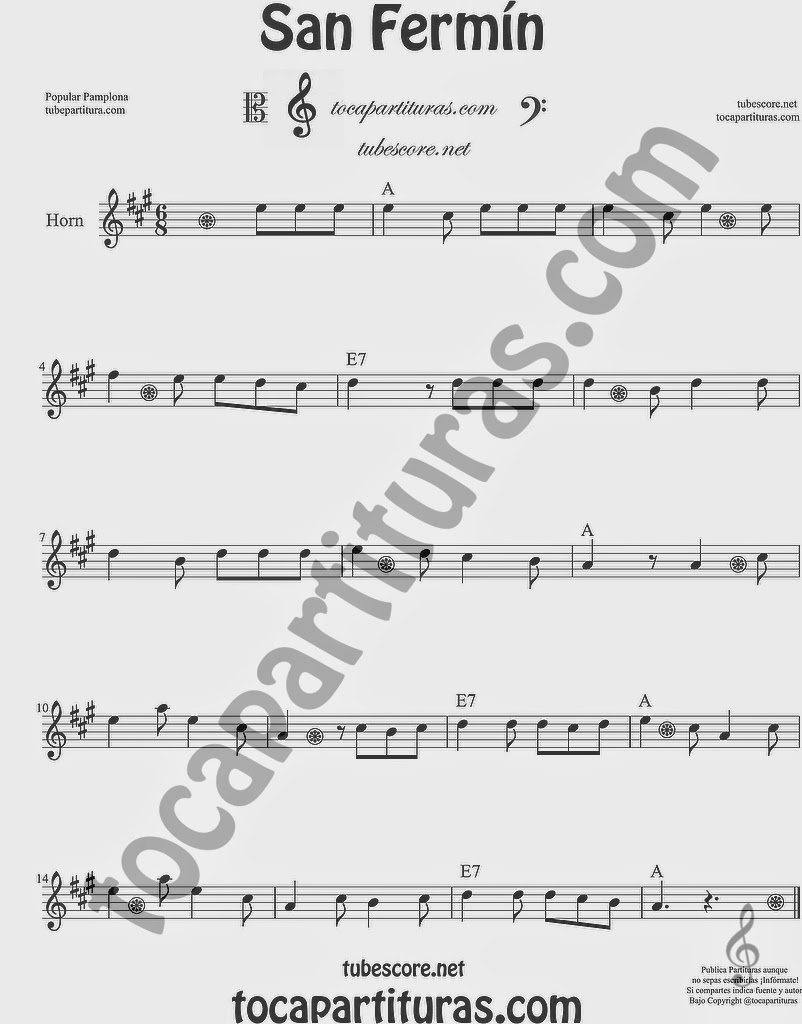 San Fermín Partitura de Trompa y Corno Francés en Mi bemol Sheet Music for French Horn Music Scores