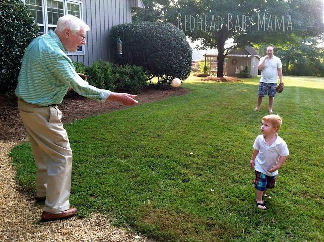 Granddaddy plays baseball with 2 generations