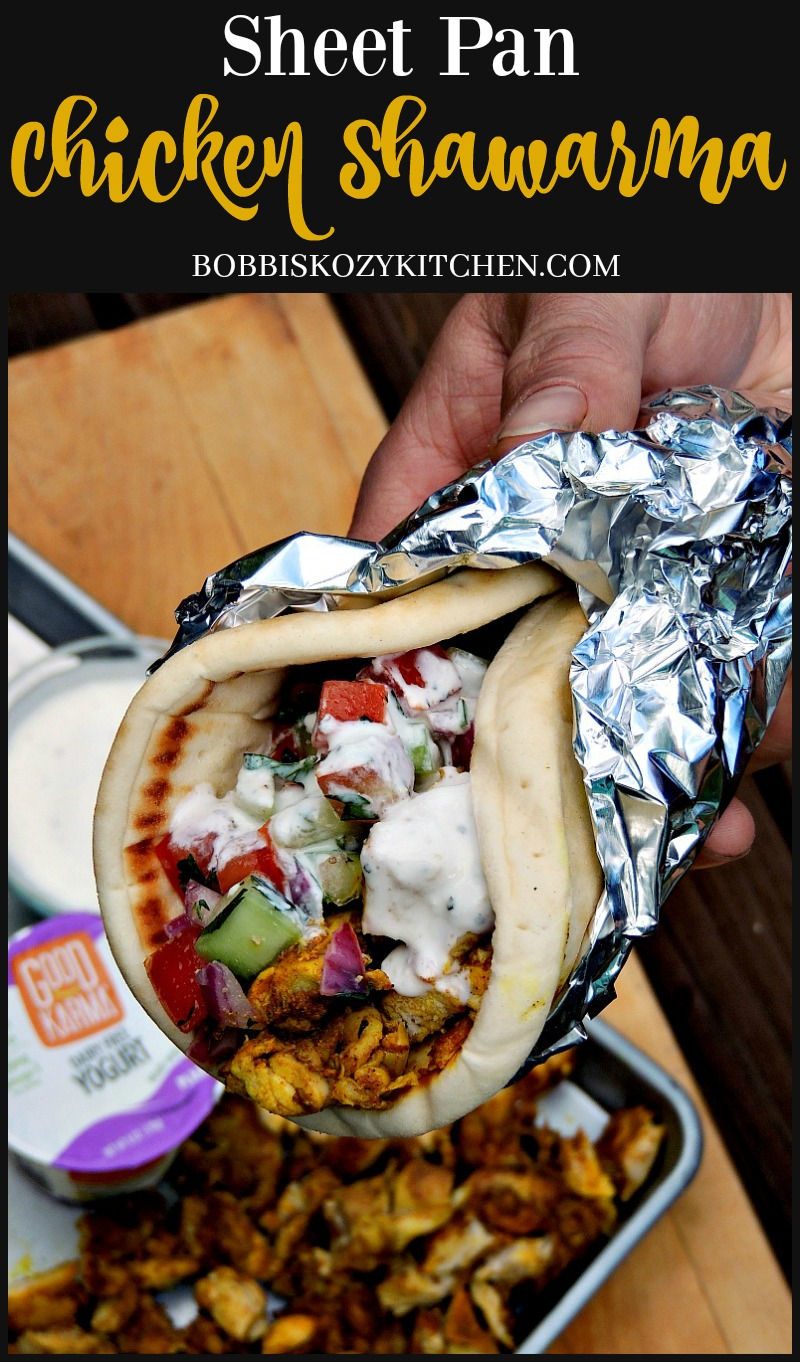 Sheet Pan Chicken Shawarma - Take a trip to the Middle East, without leaving home, with this delicious sheet pan meal. From www.bobbiskozykitchen.com