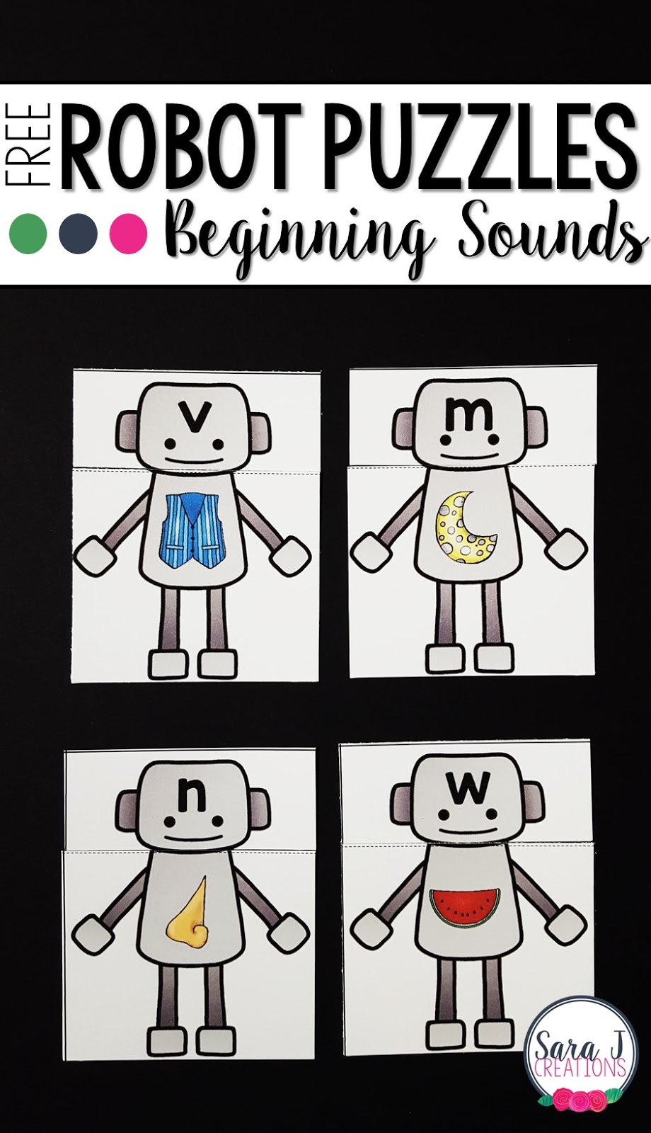 Robot themed beginning sounds puzzles.Grab this freebie for a perfect preschool or kindergarten practice activity.