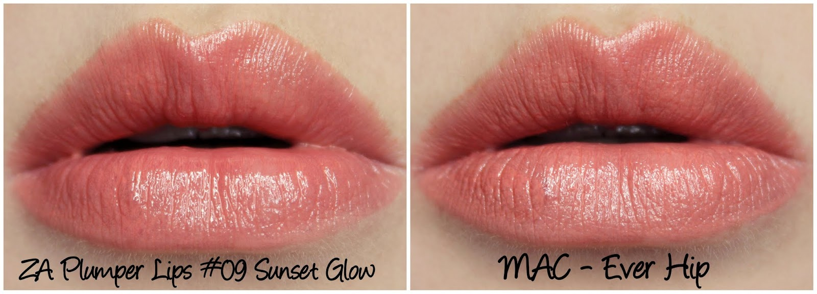 ZA Plumper Lips 09 Sunset Glow & MAC Ever Hip dupe comparison swatch