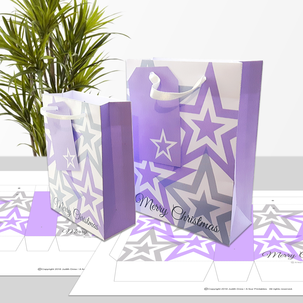 Purple and grey stars Merry Christmas gift bags and matching tags from A four Printables.